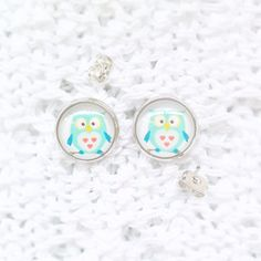 Valentine's Day - Handmade Glass cabochon studs earring for women - blue owlSilver Earring Posts With Round handmade glass cabochon. Women's Earrings, Studs, Valentines Day, Metal, Glass, Handmade, Jewelry, Valentines Diy, Asparagus