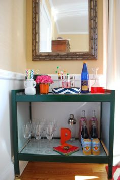 Bar Cart Styling Example - love the chevron tray on top and the monogram P below.