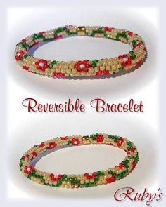 Ruby's Reversible Bracelet with tubular peyote. #seed #bead #tutorial