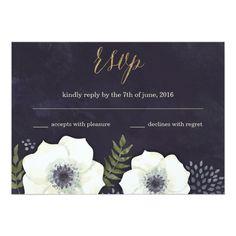 Summer Night Flowers Wedding RSVP Card navy