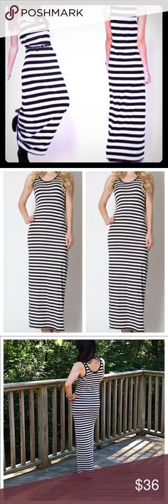 🌼 Classic Woman Maxi Dress 🌼 Black and White striped Maxi Dress. Fabric is Rayon/Spandex. Feels soft and airy. Looks amazing on and not shear. 🖤Black and White always looks modern🖤 NWOT Classic Woman Dresses Maxi