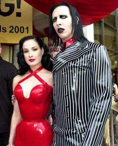 the beautiful Dita von Teese and Marilyn Manson Dita Von Teese Wedding, Burlesque, Divas, Dita Von Tease, Marilyn Manson, Couple Halloween Costumes, Halloween Ideas, The Villain, Twiggy