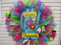 Welcome Friends Deco Mesh Wreath by NicoleDCreations on Etsy, $90.00