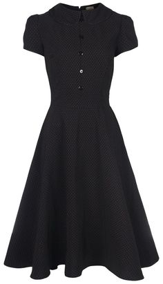 NEW LINDY BOP VINTAGE VICTORIAN STYLE BLACK DOT PETER PAN TEA DRESS STEAMPUNK #LindyBop #50sRockabilly #Formal