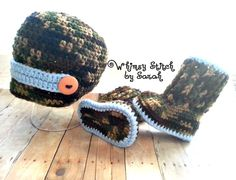 Boy Baby Camo Hat and Booties  Newborn12 by Whimsystitchbysarah, $35.00