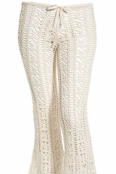 The Nora crochet cover-up pants have a drawstring tie at waist. Hand crocheted with a high quality cotton/nylon blend. Unlined.