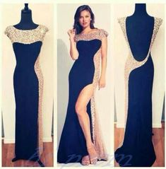 eafc1886305 Backless Black Prom Dresses With Open Back Silver Beadings Slit Long Prom  Gowns Sexy Party Dresses Sparkly Open Backs Prom Dress For Teens