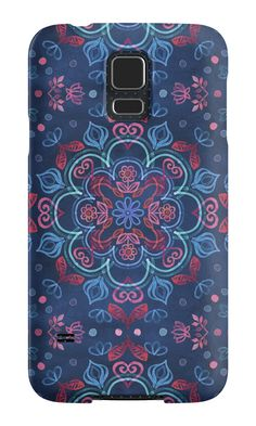 """Cherry Red & Navy Blue Watercolor Floral Pattern"" Samsung Galaxy Cases & Skins by micklyn 