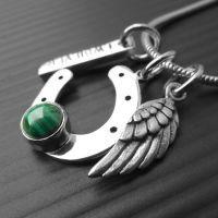 LWSilver - Charm Malachite Necklace, Horseshoe Necklace, Angel Wing Handmade Necklace, Handmade Angel Wing Liverpool #jewellery #LWSilver #angelwing #handmade #silver #malachite