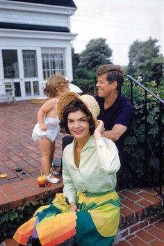 Jackie, JFK and Caroline, Hyannis Patio, 1959