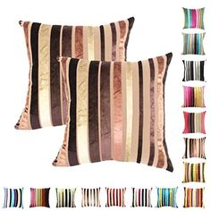 Queenie  2 Pcs Chenille Stripe Decorative Pillowcase Cushion Cover for Sofa Throw Pillow Case Available in 15 Colors  5 Sizes 24 x 24 60 x 60 cm 030 >>> Check this awesome product by going to the link at the image.