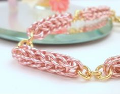 Pink Rose Foxtail Bracelet by Catinalife Creations
