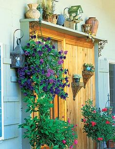 Create more flower display space above and around patio doors with simple painted 2x4's- I should put plant hangers on each side of our door
