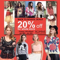 #Romwe back to school deals 20% off for whole store by this coupon: 20%offback Only three days: 28th Jan to 30th Jan Don't miss, girls