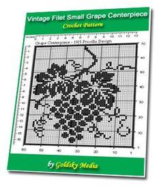 Vintage Filet Small Grape Centerpiece Crochet Pattern Ebook $2.00