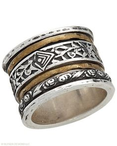 Play ring around the rosie with the multiple spinning bands that encircle this Sterling Silver and Brass Ring.