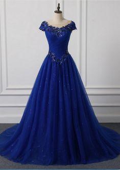 Long neck Appliqued new O outdoor wedding dress royal blue foil veils wedding party dresses
