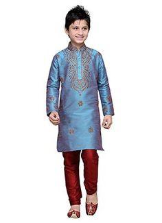 Blue Embroidered Art Silk Boys Kurta Pyjama