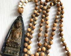 #forher#necklace#handmade#Boho#ethnic#jewlery#gifts#mala#style  Boho necklace, Hand knot necklace, Unique necklace, OOAK necklace, Long beaded Necklace, long bead bronze buddha necklace, ethnic necklace