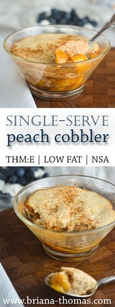 Single-Serve Peach Cobbler - yummy biscuit topping - quick and easy - no special ingredients - low-glycemic - no sugar added - THM:E - Trim Healthy Mama friendly - low fat - gluten free - nut free - microwave or oven