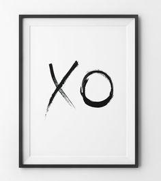 XO Love Print, Typography Paint Brush Art, Minimalist xo Art, Printable Art, xo…