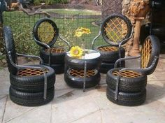 Outdoor patio furniture sets 19 Ideas for 2019 Tire Furniture, Patio Furniture Sets, Garden Furniture, Tire Seats, Tire Chairs, Patio Chairs, Tire Craft, Tyres Recycle, Old Tires