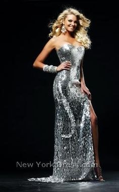 i love shiny and this sherri hill dress is amazing.