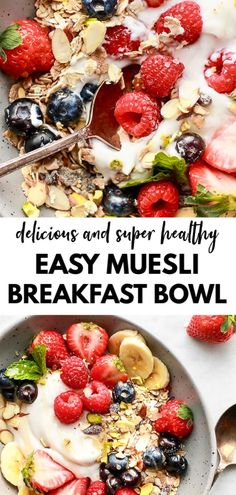You've got to try this amazingly good healthy breakfast muesli bowl recipe. It's easy, dairy free, gluten free, and loaded with fresh fruits and amazing flavour. A perfect way to wake up in the mornings! Ww Recipes, Dairy Free Recipes, Whole Food Recipes, Gluten Free, Plant Based Breakfast, Breakfast Bowls, Vegan Breakfast, Breakfast Ideas, Sin Gluten