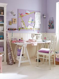 Purple room-- love this color and wainscot for the girls?