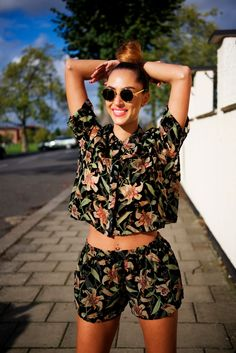 two piece • shorts • printed • outfit • fashion • crop top • top knot •