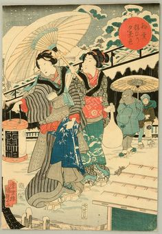Kunisada II (Triptych) Date:1856 Size/Format:Oban Triptych, each sheet approx.14.25ins. by 9.75ins. Description:First Snow: Prince Genji promenading in the pleasure quarters. Series:Hatsu yuki Yosooi no Yugeshiki