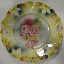RS Prussia Porcelain Handled Serving Plate /Embossed Leaves & Hand Painted Roses