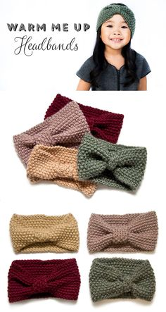Warm Me Up Headbands I think I will figure out the pattern and make a few they are cute! Knitting For Kids, Knitting Yarn, Knitting Projects, Crochet Projects, Knitting Patterns, Crochet Patterns, Knitted Headband, Knitted Hats, Yarn Crafts