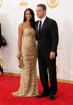 Emmy Awards 2013: Matt Damon & Luciana Barroso walk the red carpet