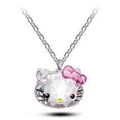 Rainbow Love Crystal Pinlk Cute hello kitty Necklaces Pendants