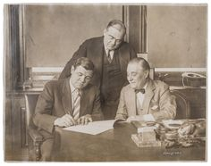 """On March 4, 1927, Yankees President Jacob Ruppert and Secretary Ed Barrow look on as Babe agrees to a $70,000 salary. (Little do many realize, the left-handed-batting Bambino was a right-handed writer.) In three years' time, Ruth would demand a raise to $80,000, even more than President Hoover, prompting the superstar's immortal quip, """"I had a better year than he did."""""""