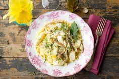 Pasta met asperges, oesterzwam en truffel