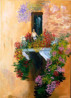 Flowers on balcony Balcony, My Arts, Passion, Flowers, Painting, Florals, Painting Art, Paintings, Flower