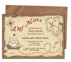 Kids Party : Pirate Kids Birthday Party Invitation Template