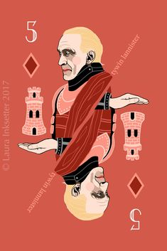 Game of Thrones Playing Cards - 5 of Diamonds (Tywin Lannister) Dessin Game Of Thrones, Game Of Thrones Cards, Game Of Thrones Meme, Familia Lannister, Movies And Series, Tv Series, Jaqen H Ghar, Eddard Stark, Game Of Throne Actors