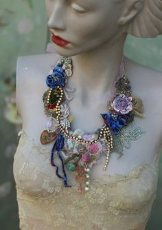 Blue petals necklace, bold delicate  shabby chic embroidered  statement necklace