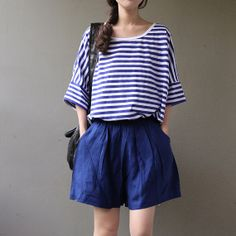 blue linen pants   loose wide leg short pants