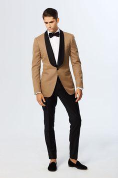 Creme Italian Open Weave Shawl Satin Lapel Dinner Jacket Black Tropical Satin Piped Tuxedo Pant