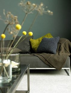 warm grey, deep chartreuse, olive green with pops of deep yellow