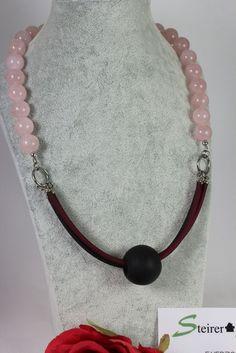 Kette mit Rosenquarz Kautschuk und Polaris Pearl Necklace, Beaded Necklace, Pearls, Shop, Jewelry, Fashion, Pink Quartz, Necklaces, Jewlery