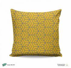 Almofada Geométrica Amarela e Cinza