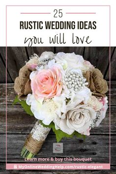 Rustic Burlap Wedding Bouquet with pearls and flowers. The mix of burlap flowers and pearl brooch with lace and twine ha Wedding Centerpieces, Wedding Bouquets, Wedding Decorations, Wedding Ideas, Wedding Inspiration, Elegant Wedding, Rustic Wedding, Chic Wedding, Wedding Guest Table