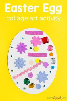 Decorate an Easter Egg Collage Art Activity Your kids will love this Easter egg collage art activity! It's a fun spring craft that allows children to be creative while developing fine motor skills. Easter Arts And Crafts, Easter Egg Crafts, Easter Projects, Easter Crafts For Kids, Baby Crafts, Spring Crafts, Toddler Crafts, Easter Eggs, Easter Ideas