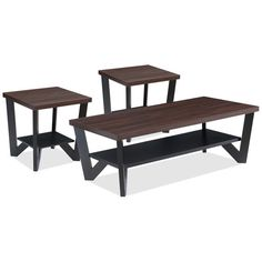 Accent and Occasional Furniture - Arika 3-Piece Coffee and Two End Tables Package – Black