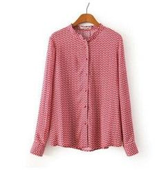 New Fashion Ladies elegant red leaves print blouses vintage stand collar long sleeve shirts casual slim brand tops